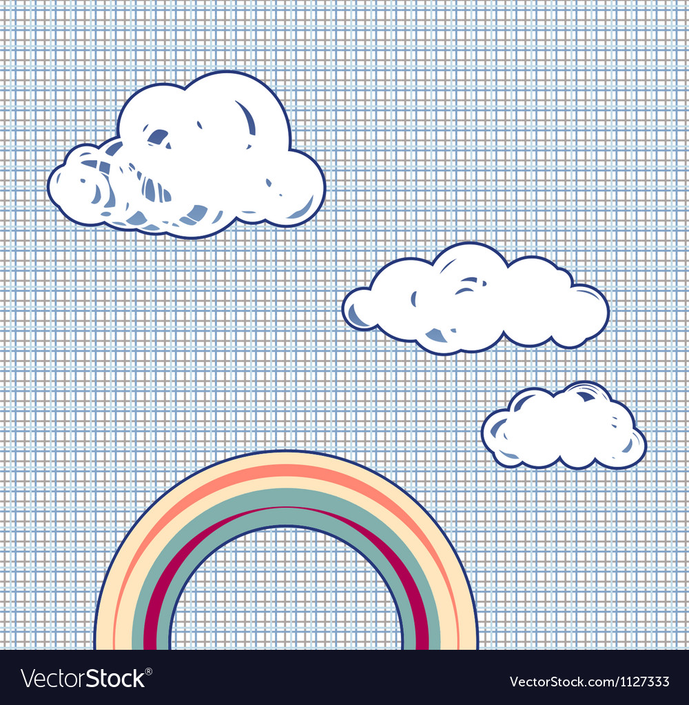 Cartoon clouds and rainbow in retro textured sky vector | Price: 1 Credit (USD $1)