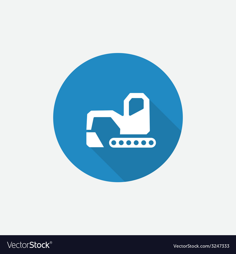 Excavator flat blue simple icon with long shadow vector | Price: 1 Credit (USD $1)