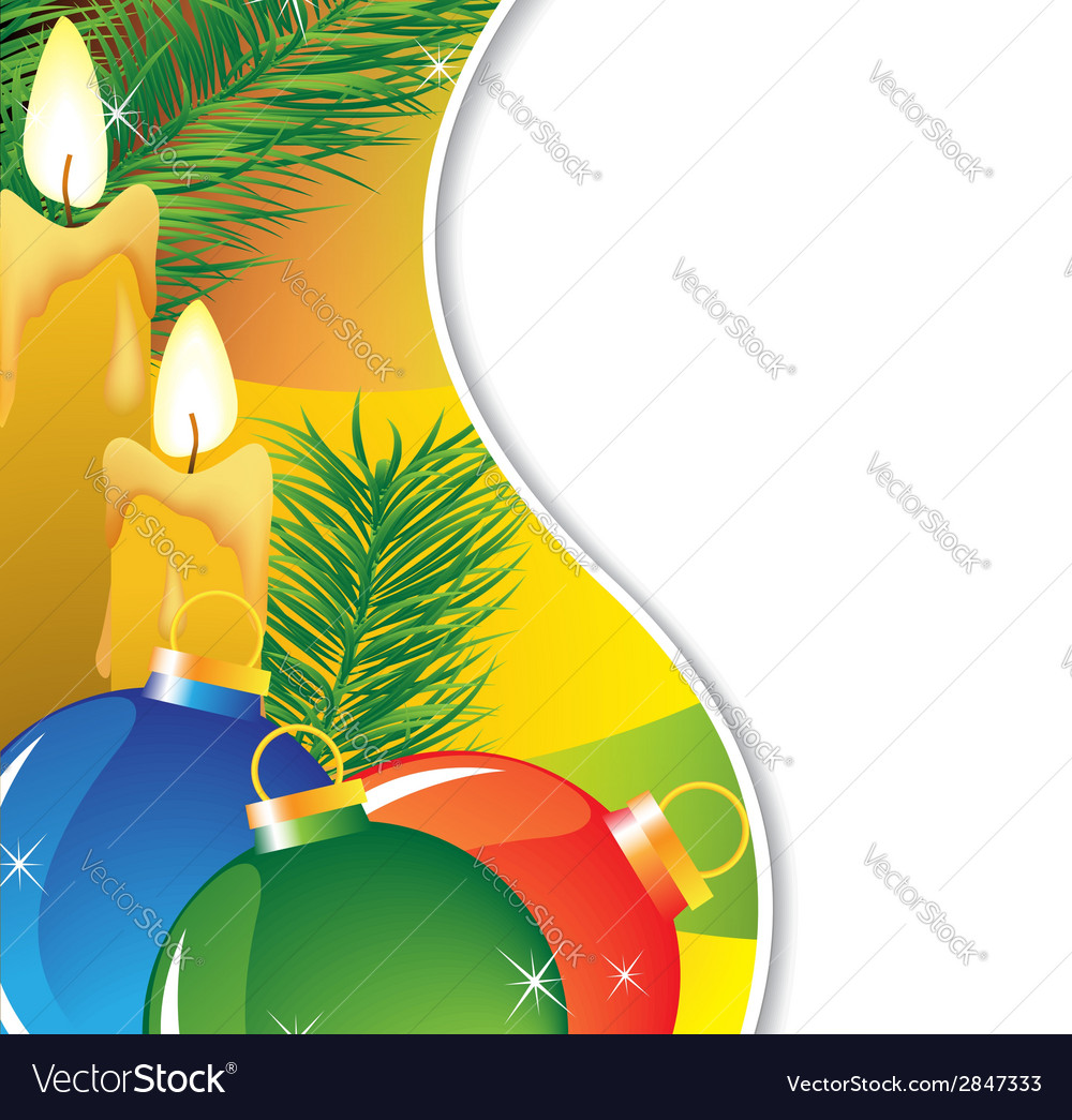Fir branches and burning candles vector | Price: 1 Credit (USD $1)