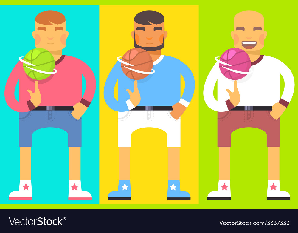 Flat bright of set emotion men they turn ba vector | Price: 1 Credit (USD $1)