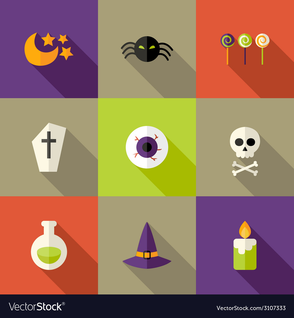 Halloween squared flat icons set 3 vector   Price: 1 Credit (USD $1)