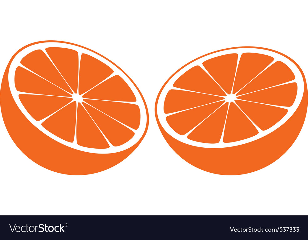 Orange bisected in half vector | Price: 1 Credit (USD $1)