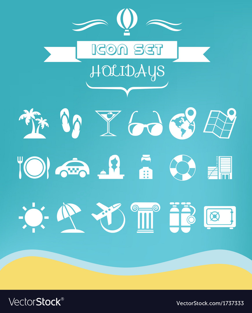Travel flat icon set vector | Price: 1 Credit (USD $1)