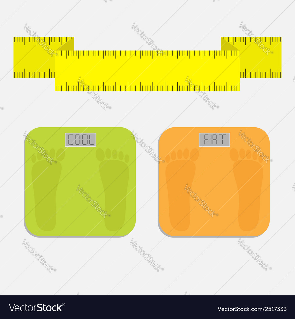 Weight scale with word fat cool measuring tape vector | Price: 1 Credit (USD $1)