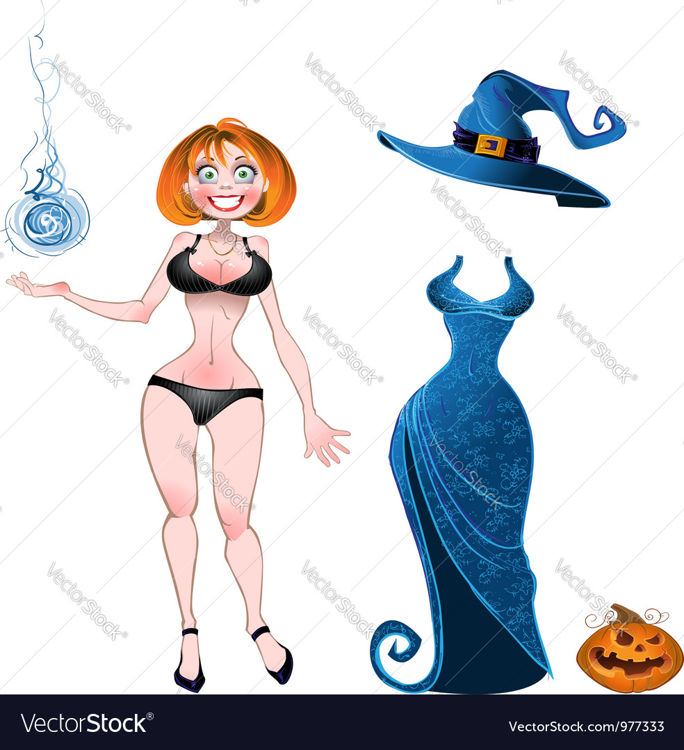 Witch with evening dress and pumpkin vector | Price: 3 Credit (USD $3)