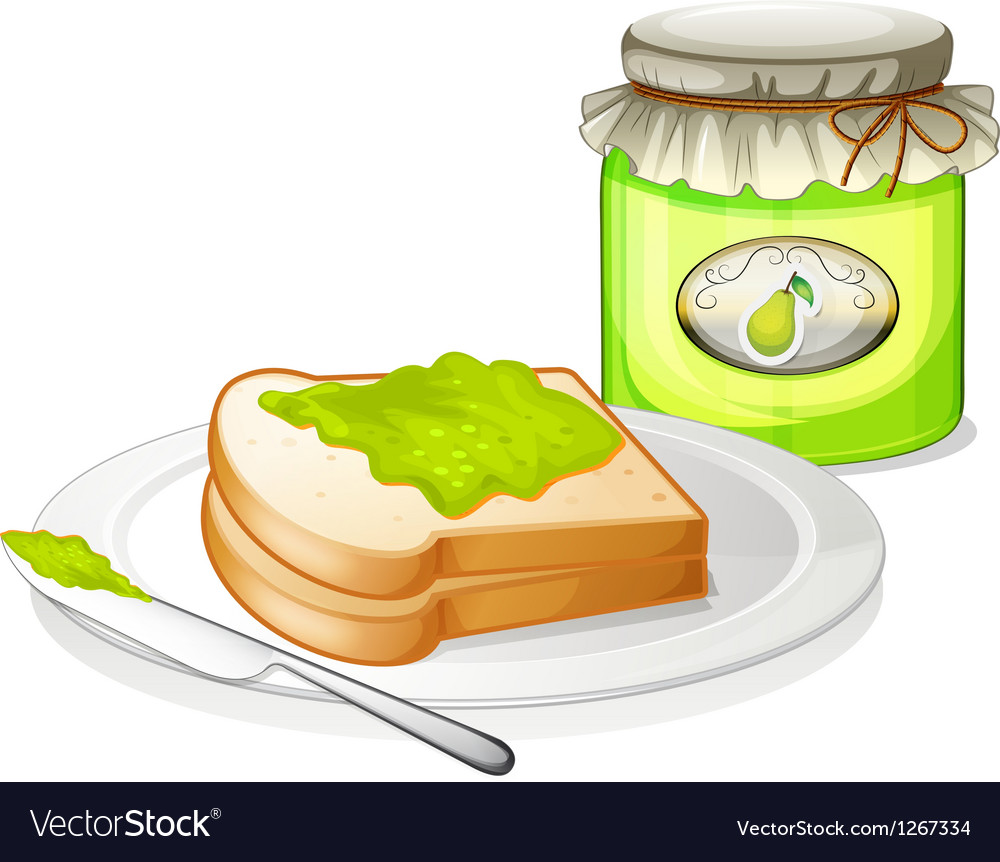 A bread with avocado jam vector | Price: 1 Credit (USD $1)