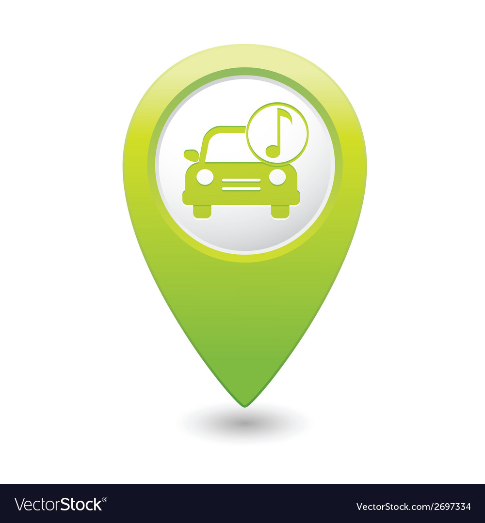 Car with music icon map pointer green vector | Price: 1 Credit (USD $1)