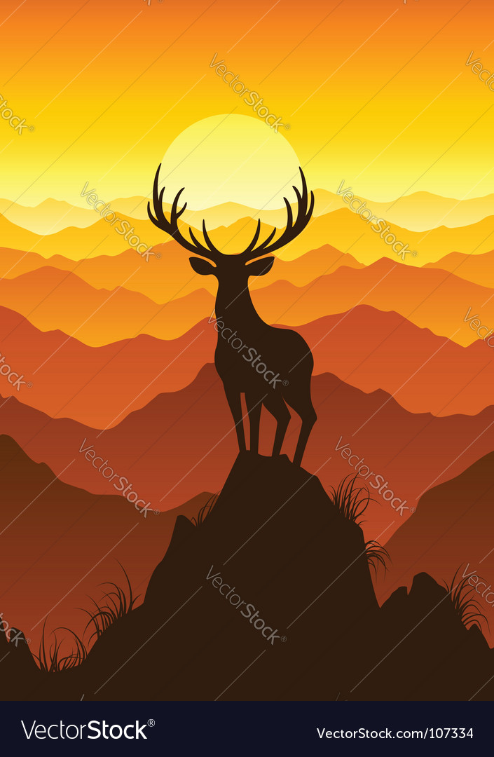 Deer at sunset vector | Price: 1 Credit (USD $1)