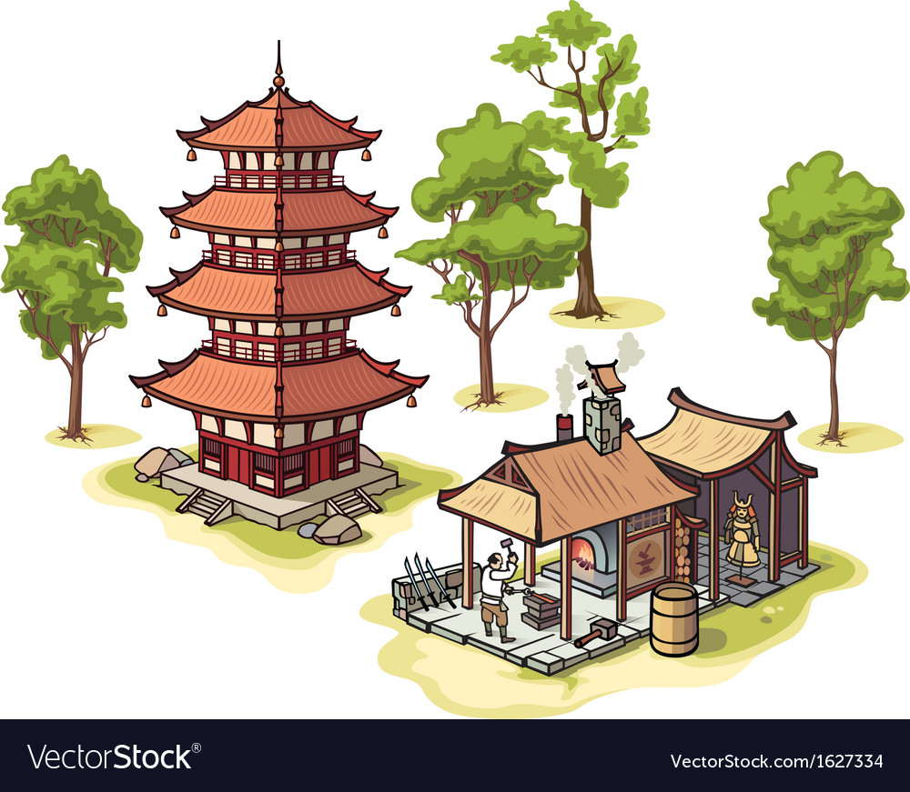 Japanese pagoda and medieval blacksmith vector | Price: 1 Credit (USD $1)
