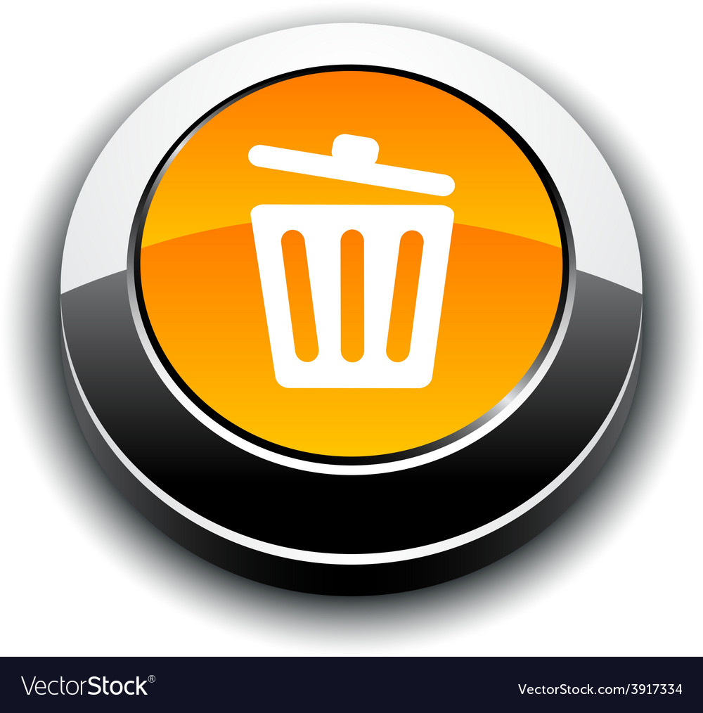Recycle bin 3d round button vector | Price: 1 Credit (USD $1)
