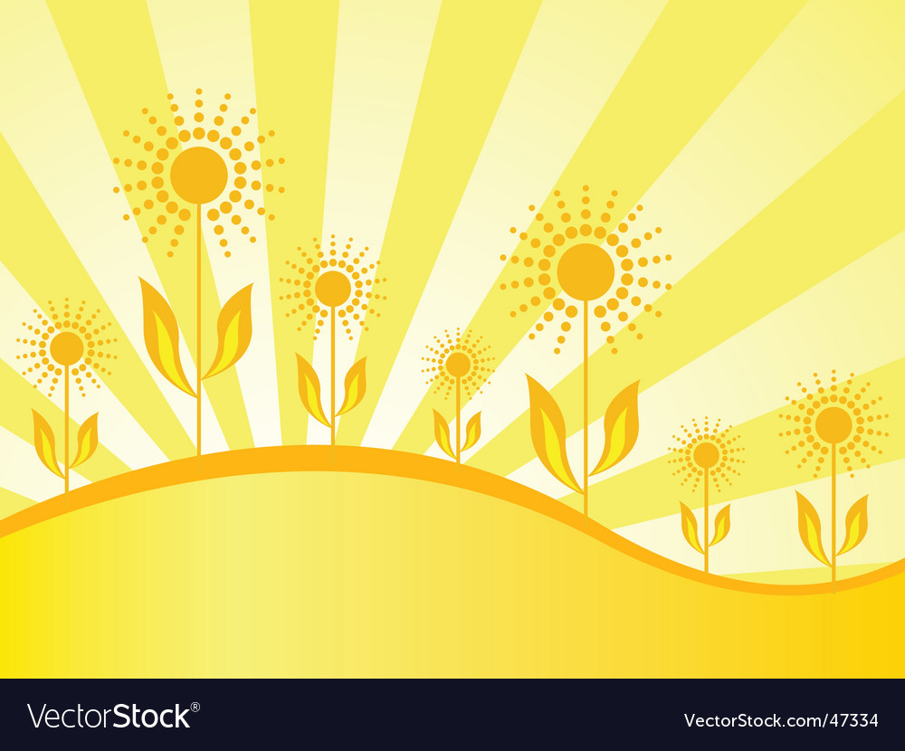 Spring wallpaper with sunflowers vector | Price: 1 Credit (USD $1)