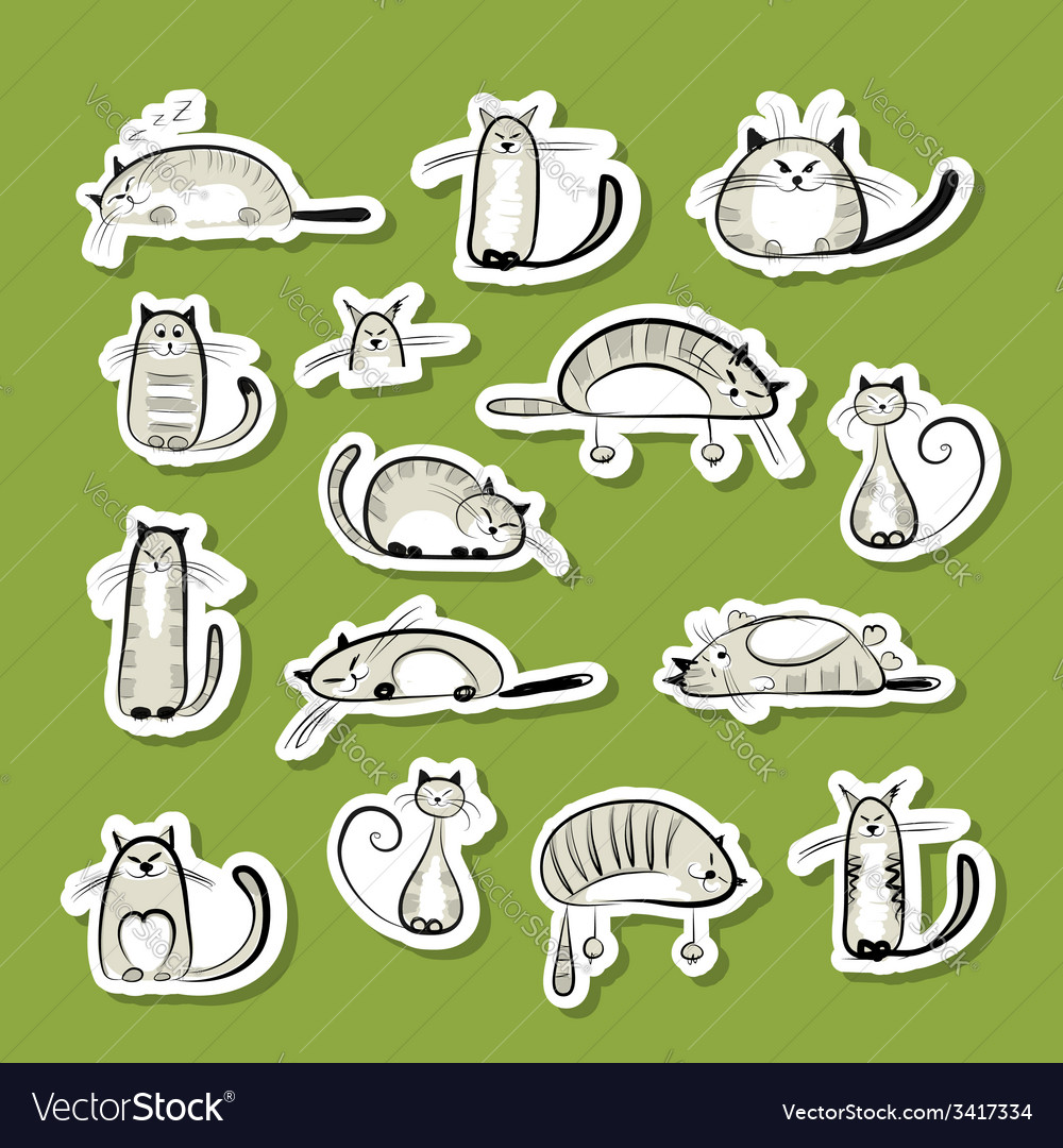 Stickers with funny cats for your design vector | Price: 1 Credit (USD $1)