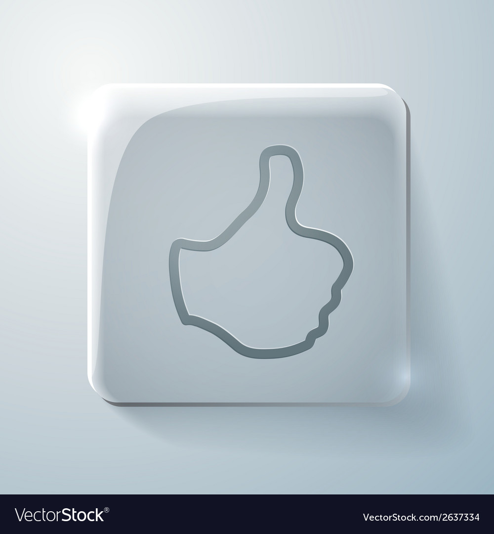 Thumb up glass square icon with highlights vector | Price: 1 Credit (USD $1)