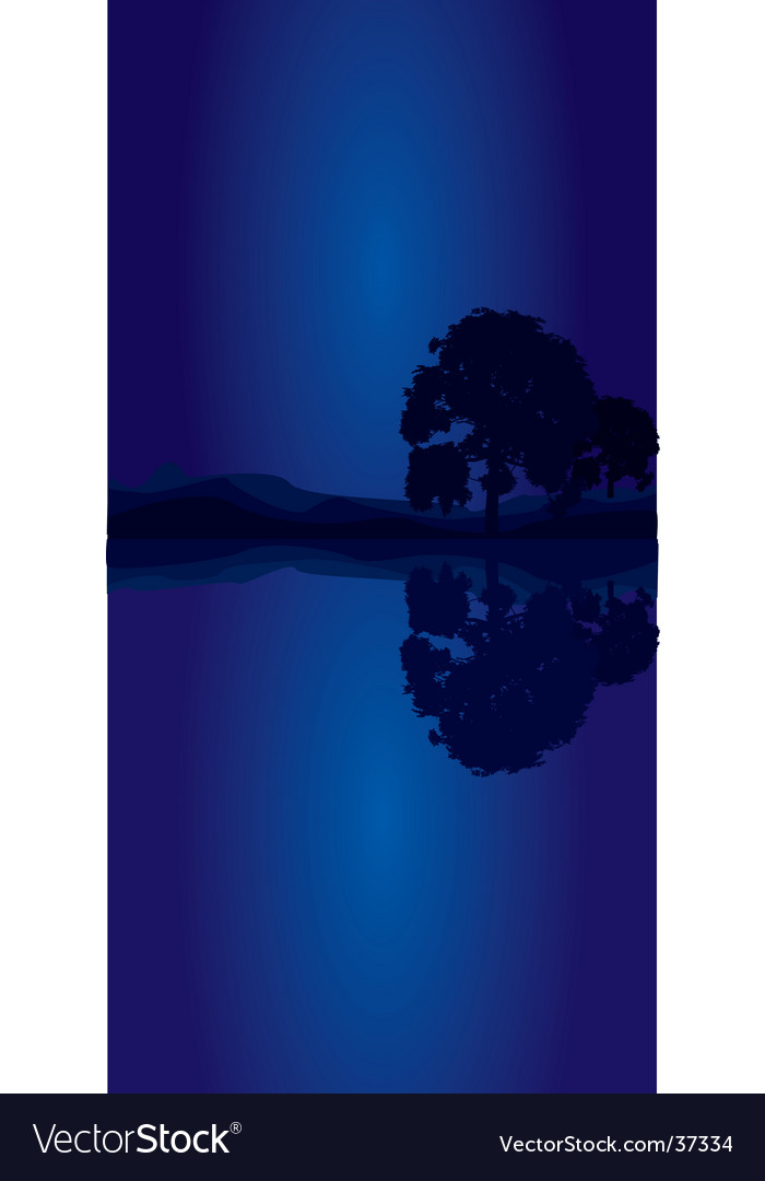 Tree blue portrait vector | Price: 1 Credit (USD $1)