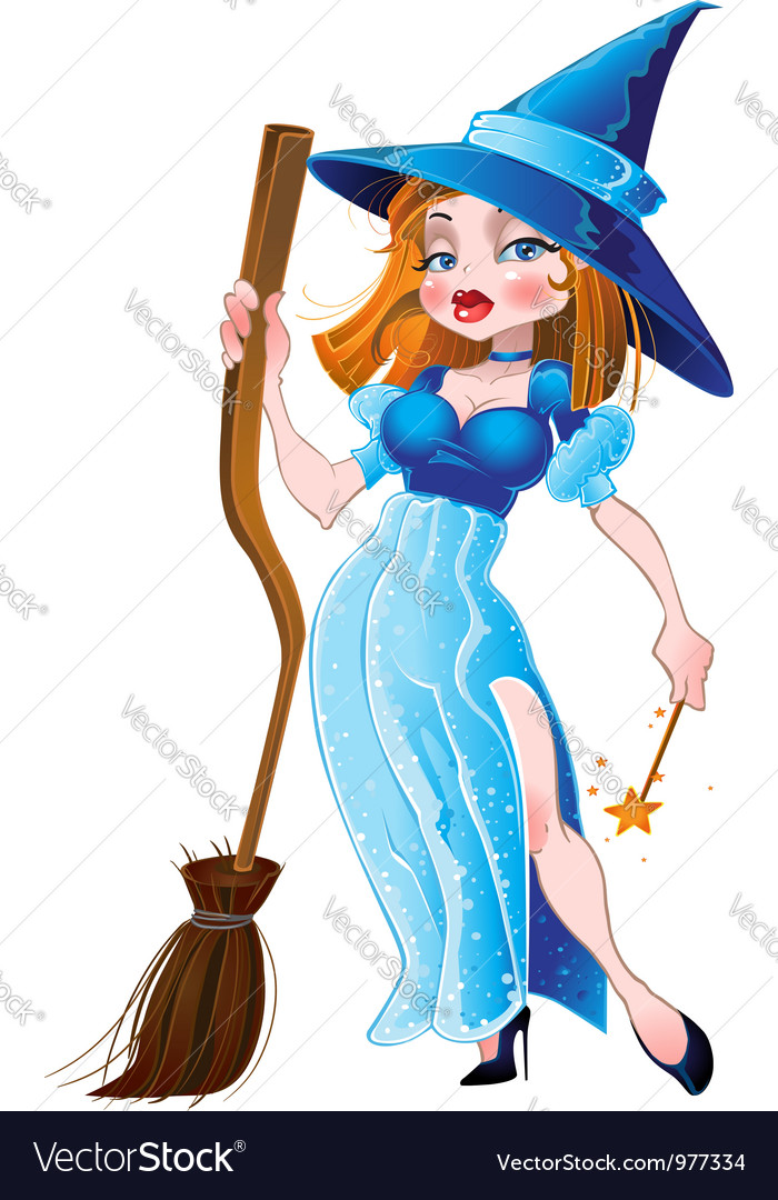 Witch in blue dress vector | Price: 3 Credit (USD $3)