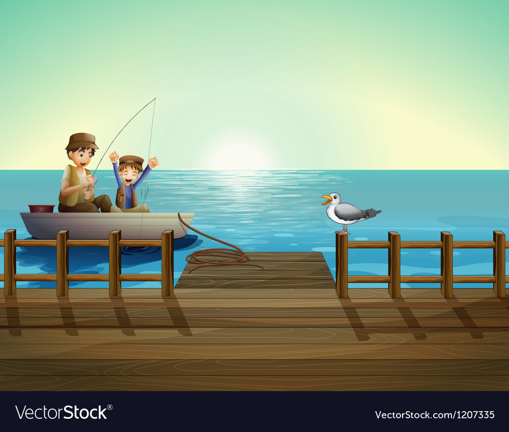 A father and a child fishing near the bridge vector | Price: 1 Credit (USD $1)