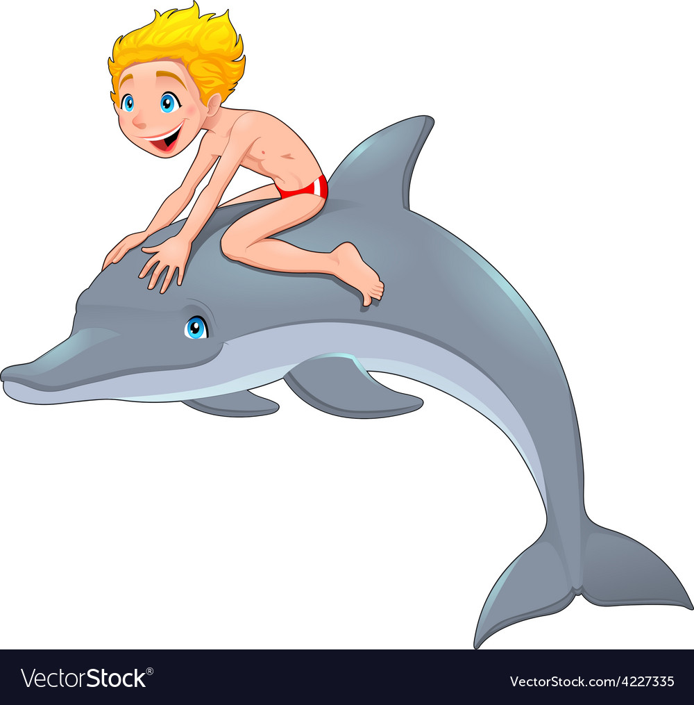 The boy and the dolphin vector | Price: 3 Credit (USD $3)