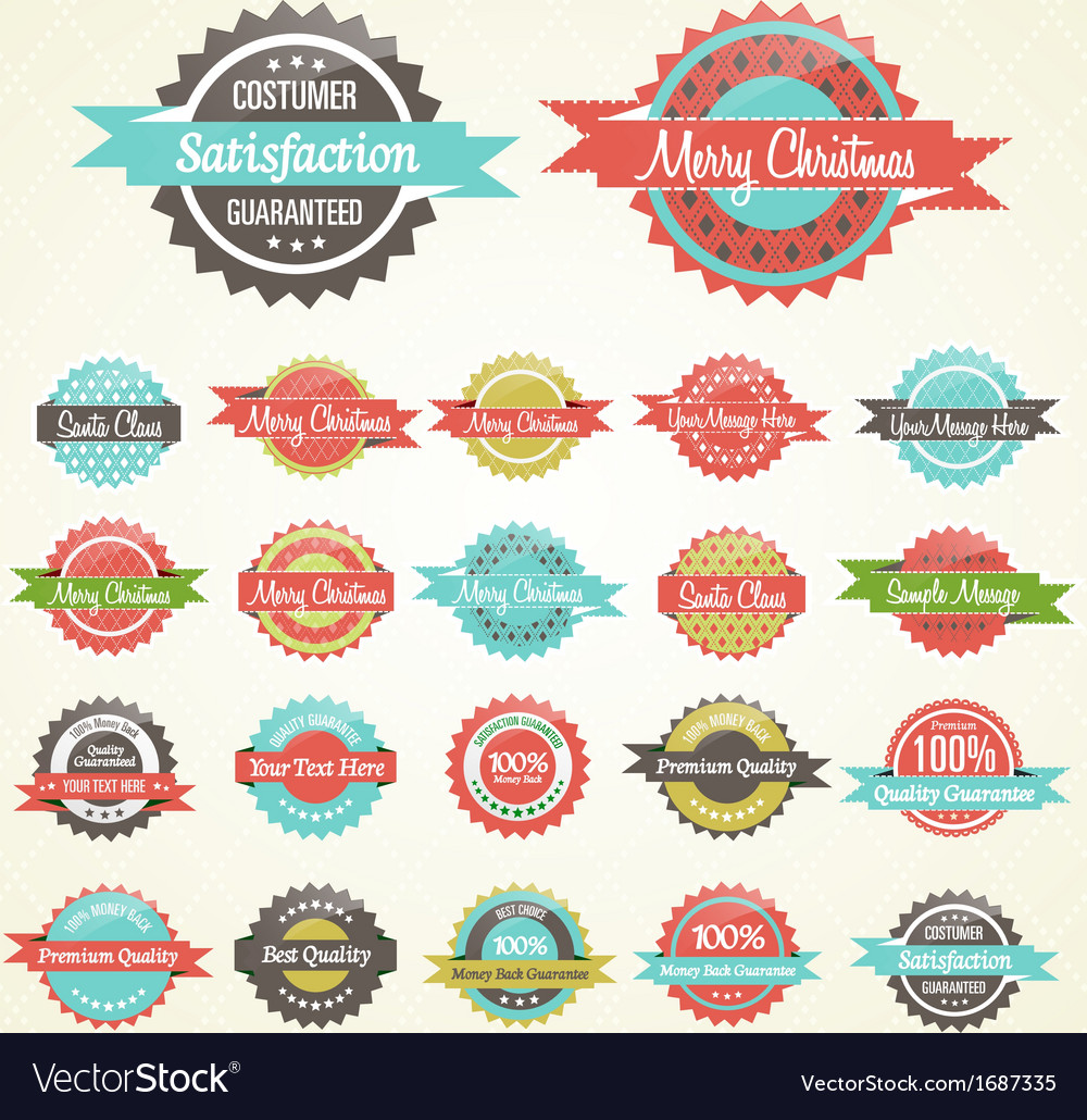Colorful collection of christmas retro badges vector | Price: 1 Credit (USD $1)