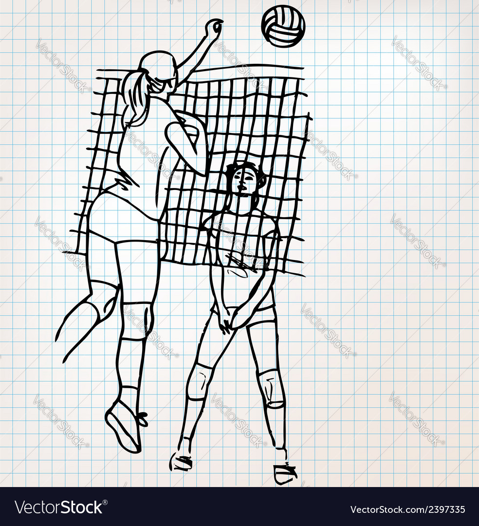 Girls playing volleyball sketch vector | Price: 1 Credit (USD $1)
