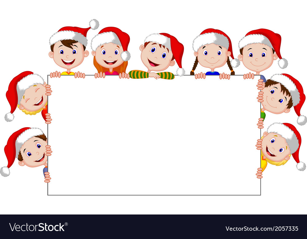 Kids cartoon with a blank sign and christmas hats vector | Price: 1 Credit (USD $1)