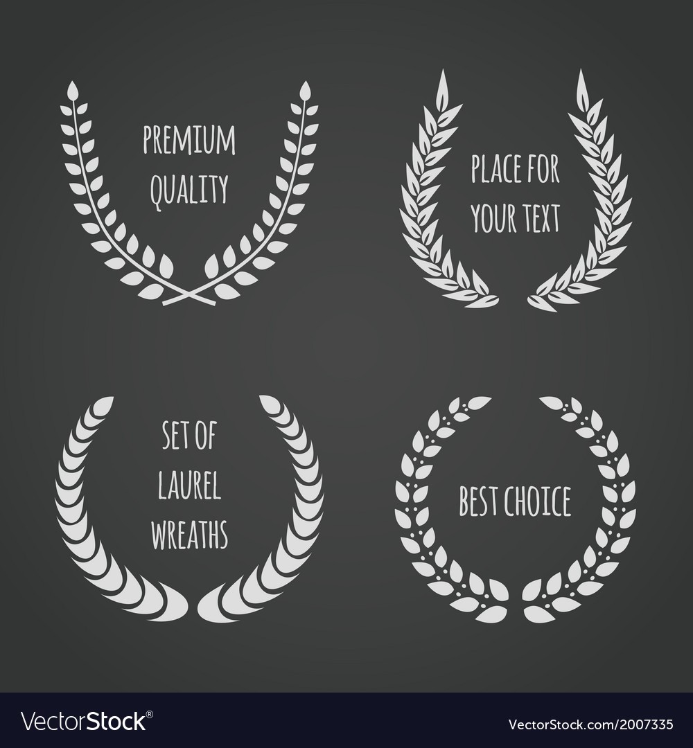 Set of laurel wreaths on chalkboard vector | Price: 1 Credit (USD $1)