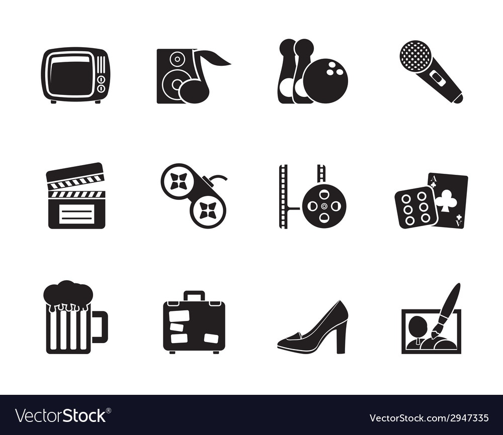 Silhouette leisure activity and objects icons vector | Price: 1 Credit (USD $1)
