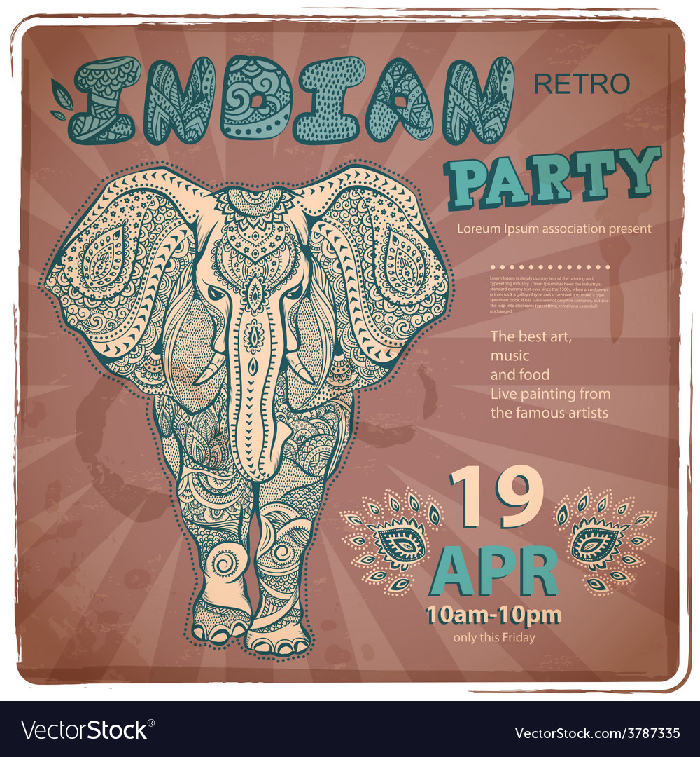 Vintage elephant vector | Price: 1 Credit (USD $1)