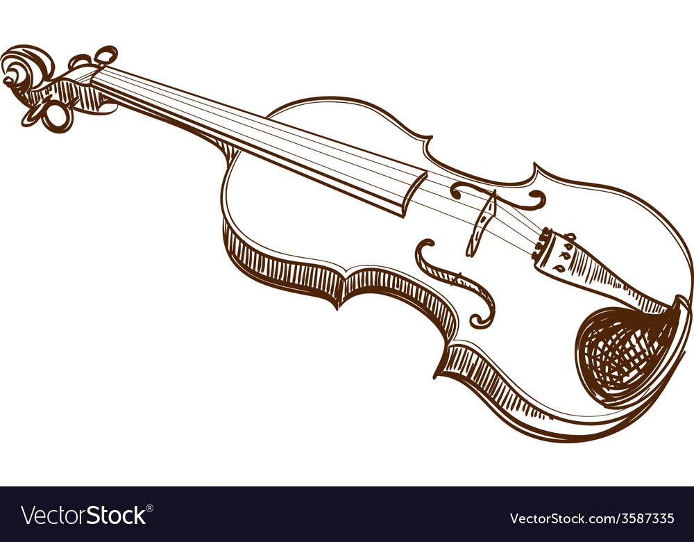 Violin line art vector | Price: 1 Credit (USD $1)