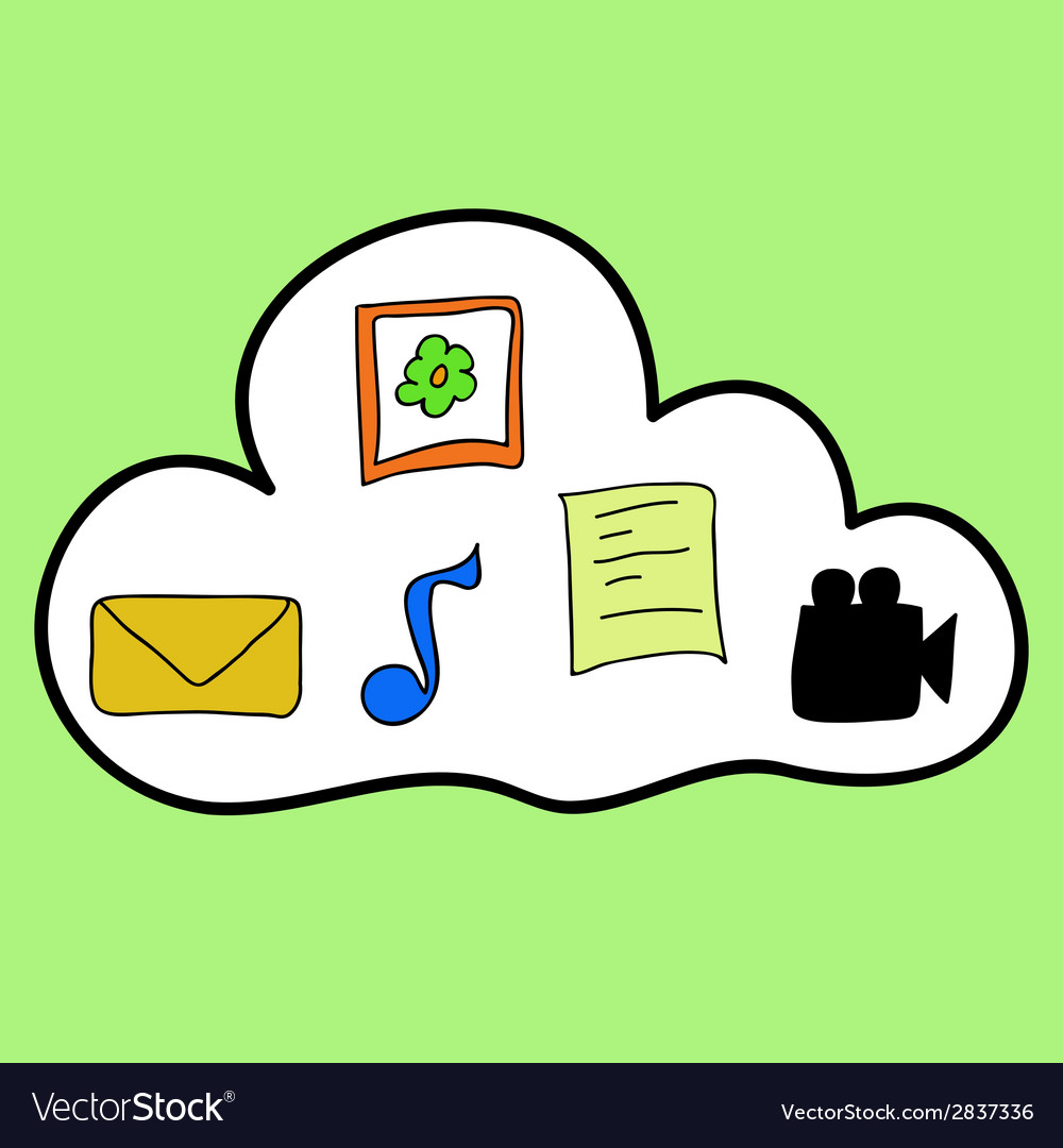 Cloud computing in colorful doodle style vector   Price: 1 Credit (USD $1)