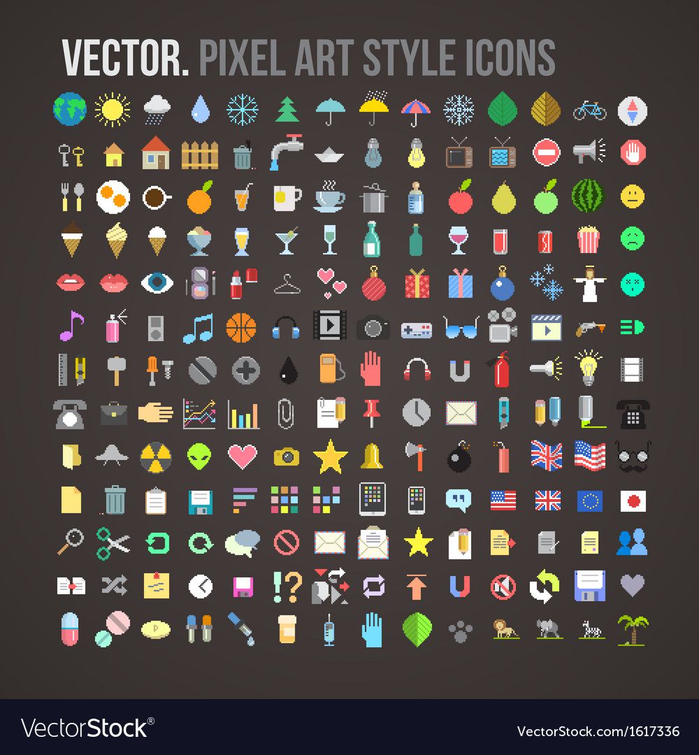 Color pixel art style icons set vector | Price: 1 Credit (USD $1)