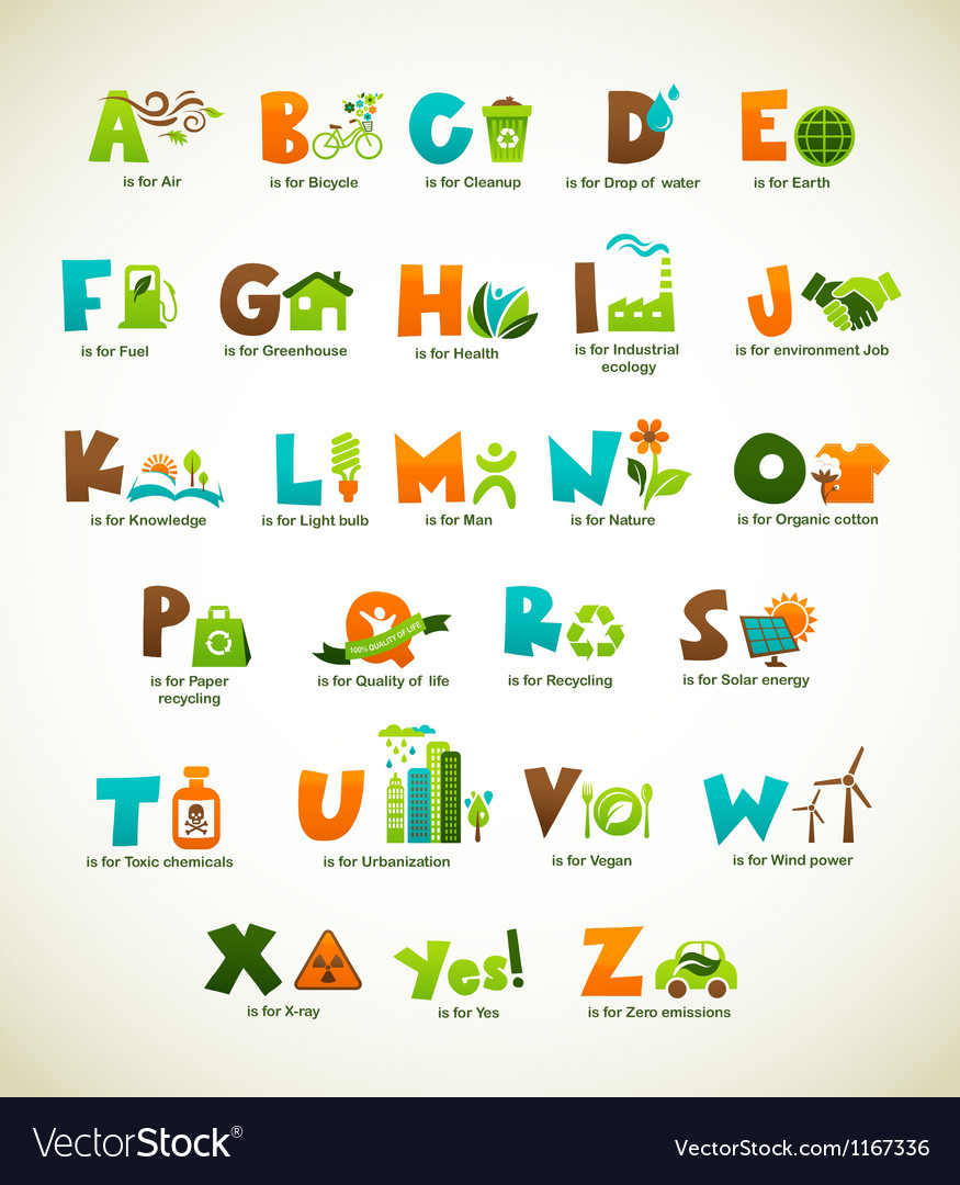 Ecology green alphabet with collection of elements vector | Price: 1 Credit (USD $1)