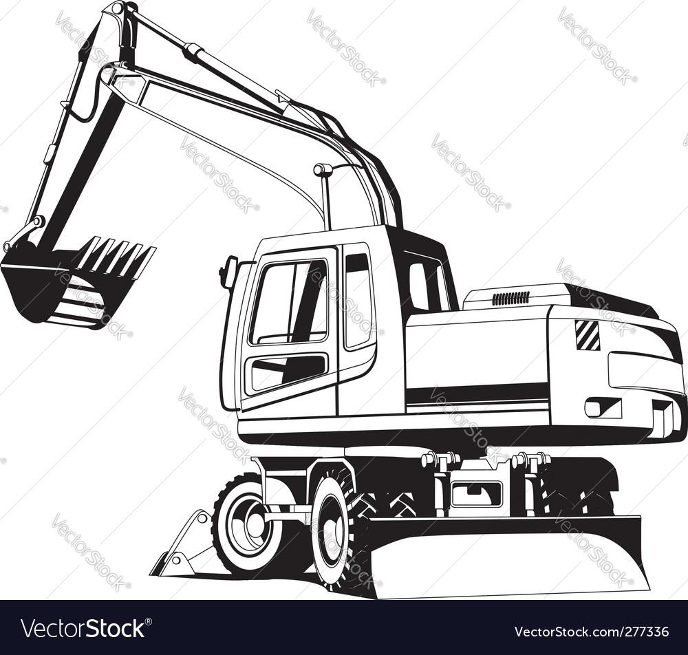 Excavator outline vector | Price: 1 Credit (USD $1)