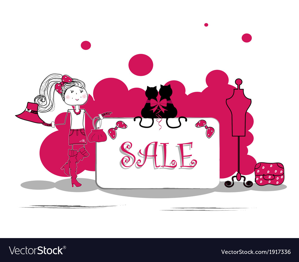 Fashion girls in sale campaign - vector | Price: 1 Credit (USD $1)