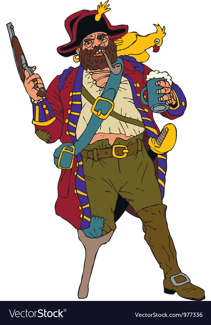 Fearsome pirate with a parrot vector | Price: 1 Credit (USD $1)