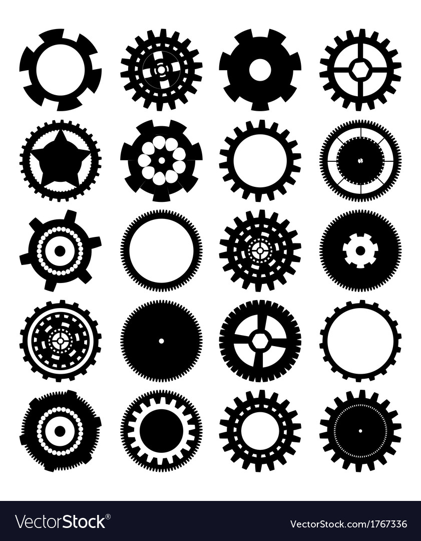 Gears silhouette over white background vector | Price: 1 Credit (USD $1)