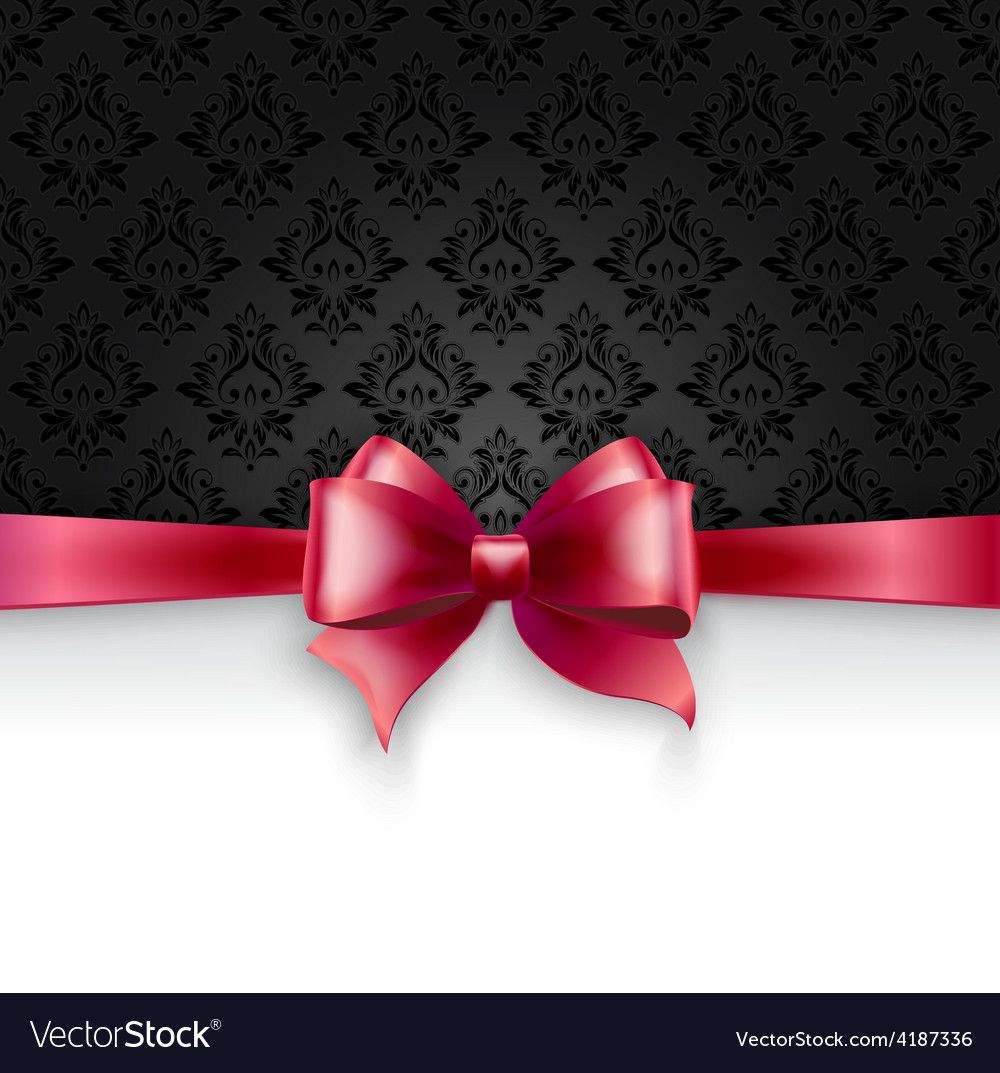 Invitation card with pink holiday ribbon on vector | Price: 3 Credit (USD $3)