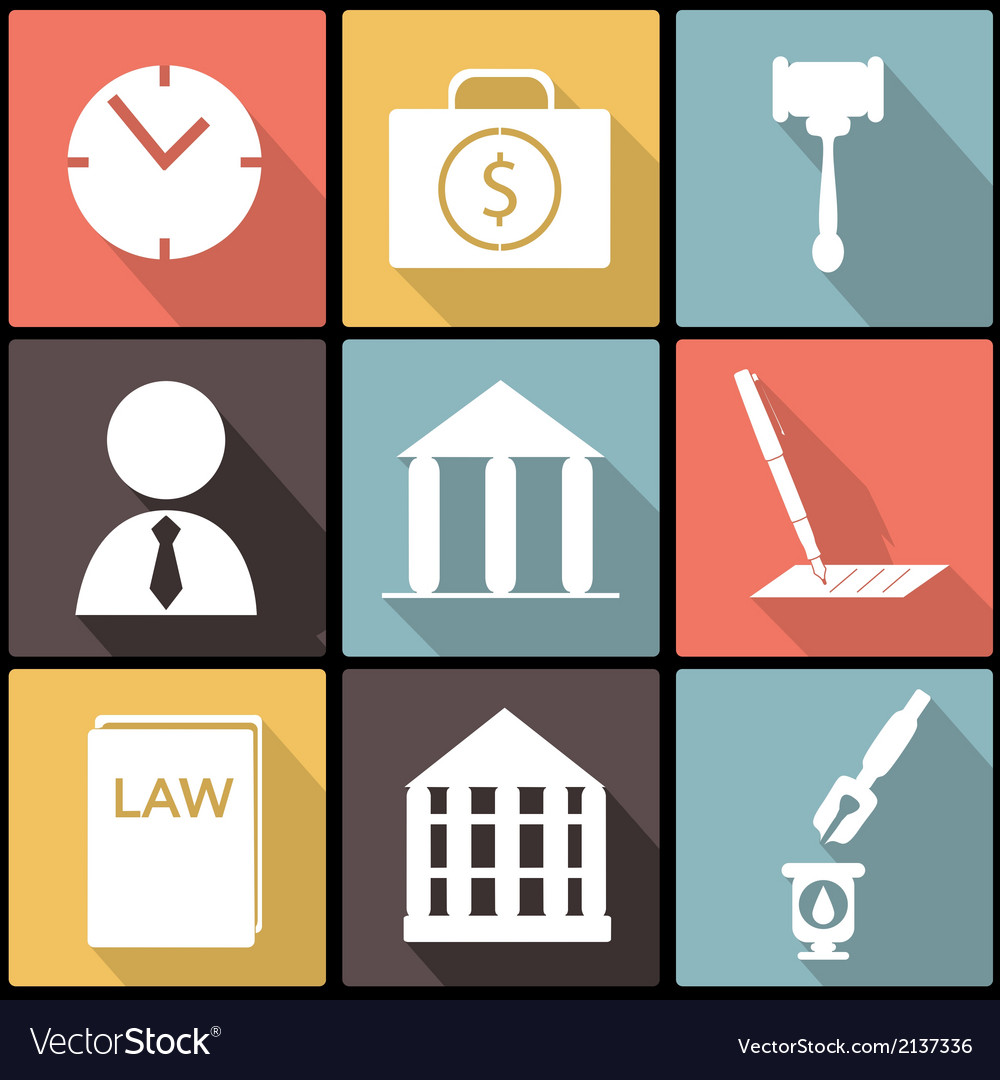 Legal law and justice icon set in flat design vector | Price: 1 Credit (USD $1)