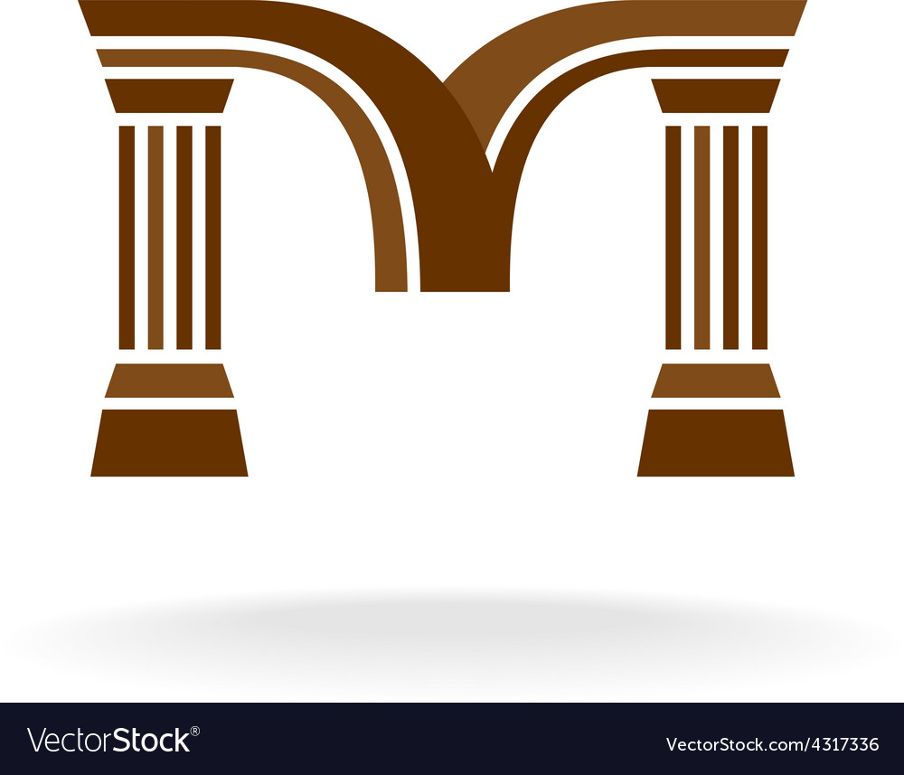 Letter m logo with columns architecture business vector | Price: 1 Credit (USD $1)