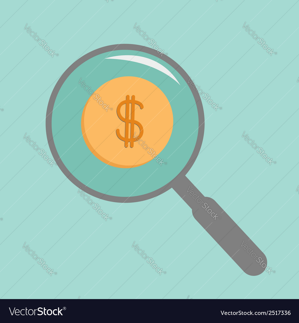 Magnifier and gold coin with dollar sign flat vector | Price: 1 Credit (USD $1)