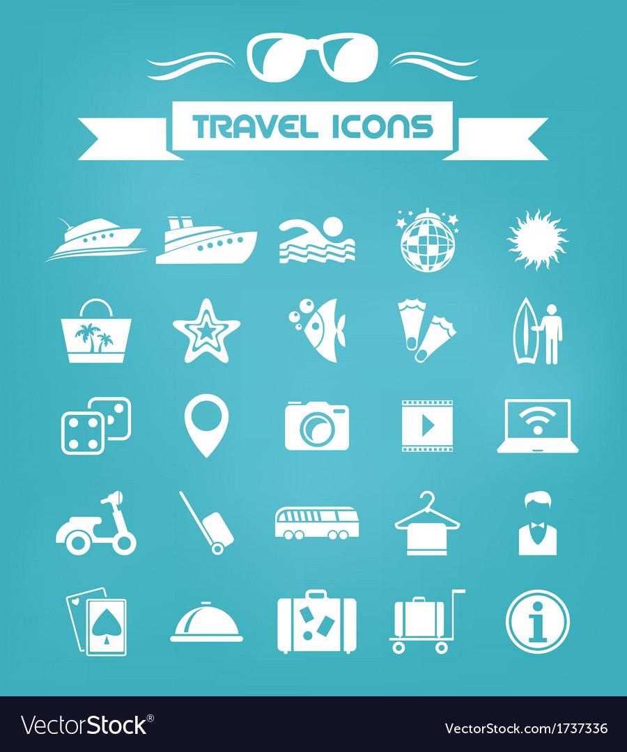 Travel flat icon set vector | Price: 1 Credit (USD $1)