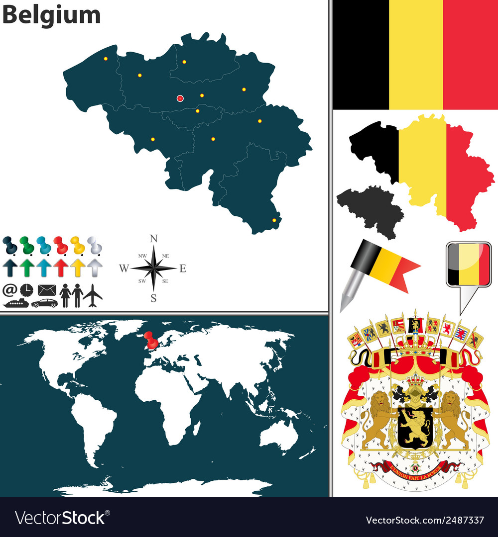Belgium map world vector | Price: 1 Credit (USD $1)