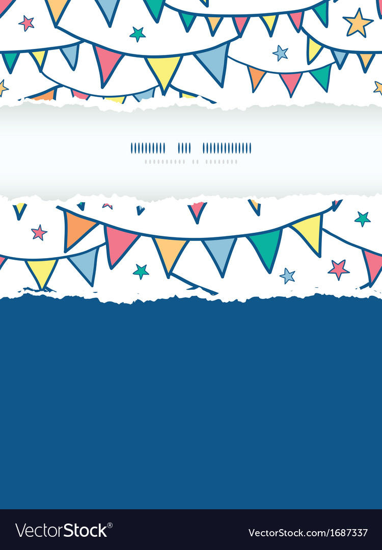 Colorful doodle bunting flags vertical torn frame vector | Price: 1 Credit (USD $1)