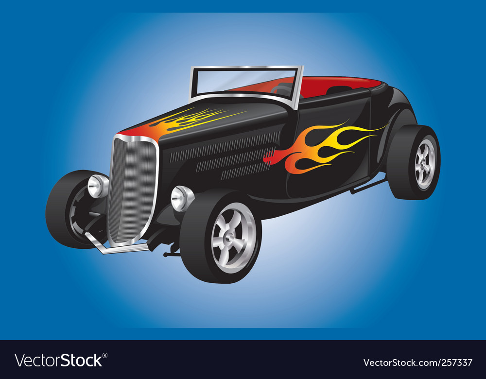 Hot rod car with flames vector | Price: 1 Credit (USD $1)