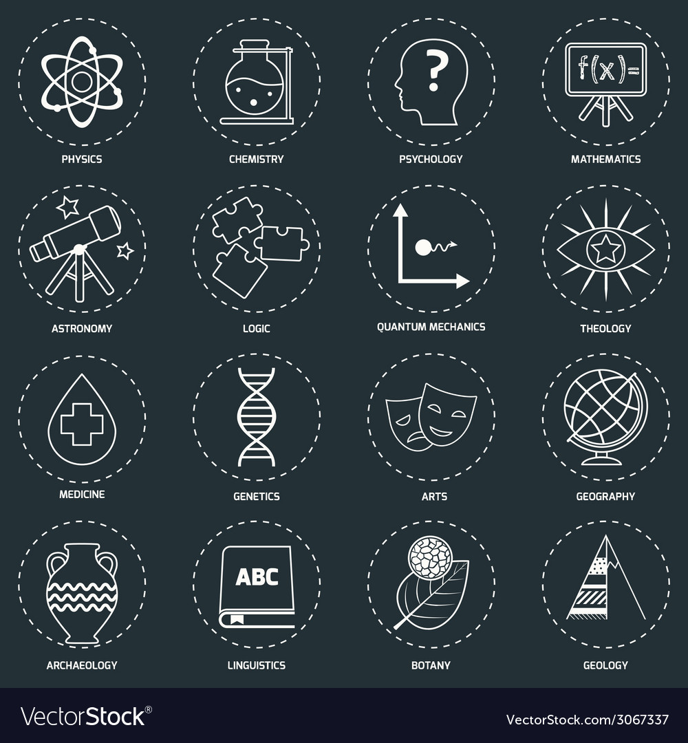 Science areas icons outline vector | Price: 1 Credit (USD $1)
