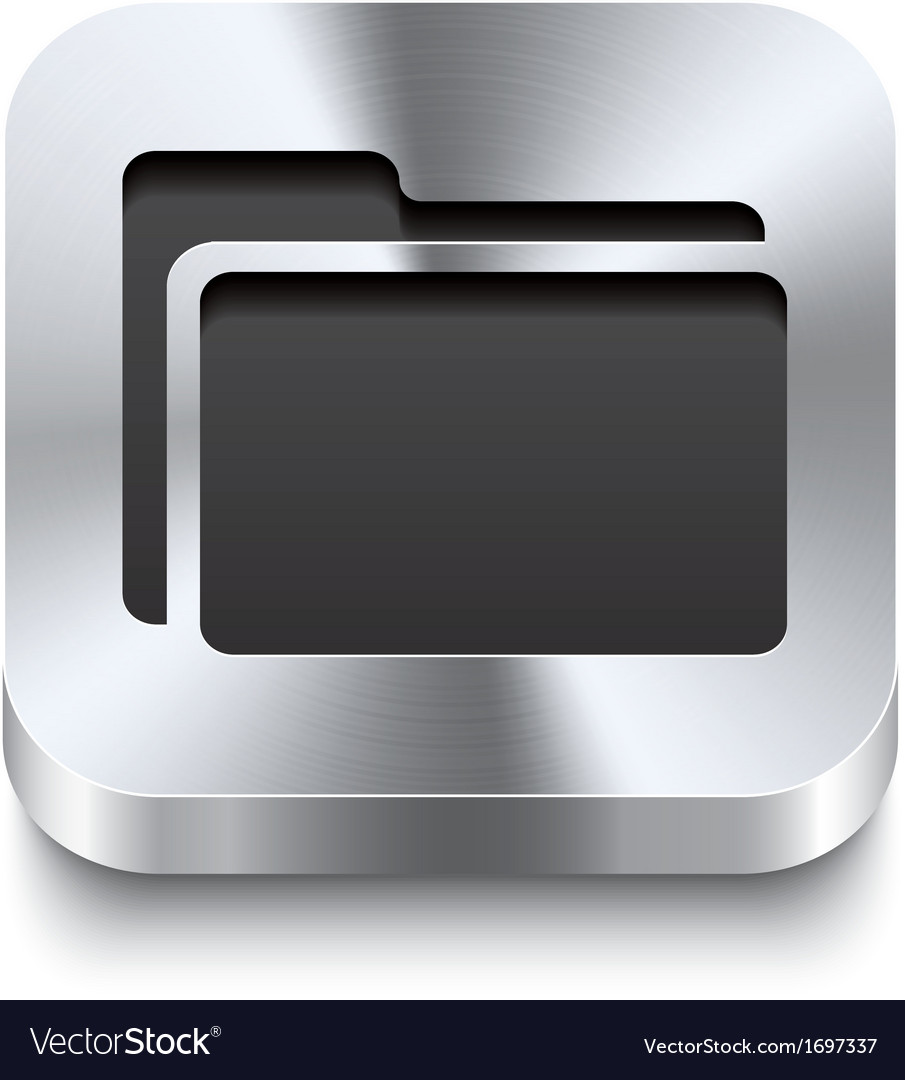Square metal button perspektive - folder icon vector | Price: 1 Credit (USD $1)