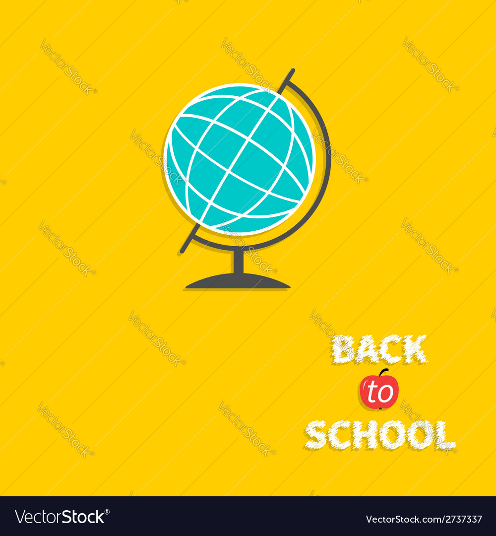 World globe back to school flat design style vector | Price: 1 Credit (USD $1)