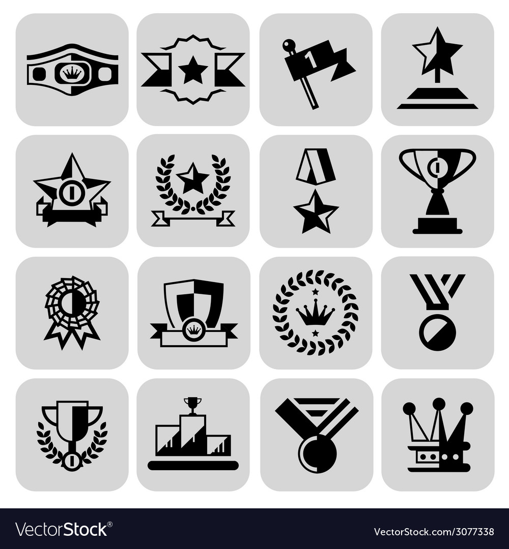 Award icons set black vector | Price: 1 Credit (USD $1)