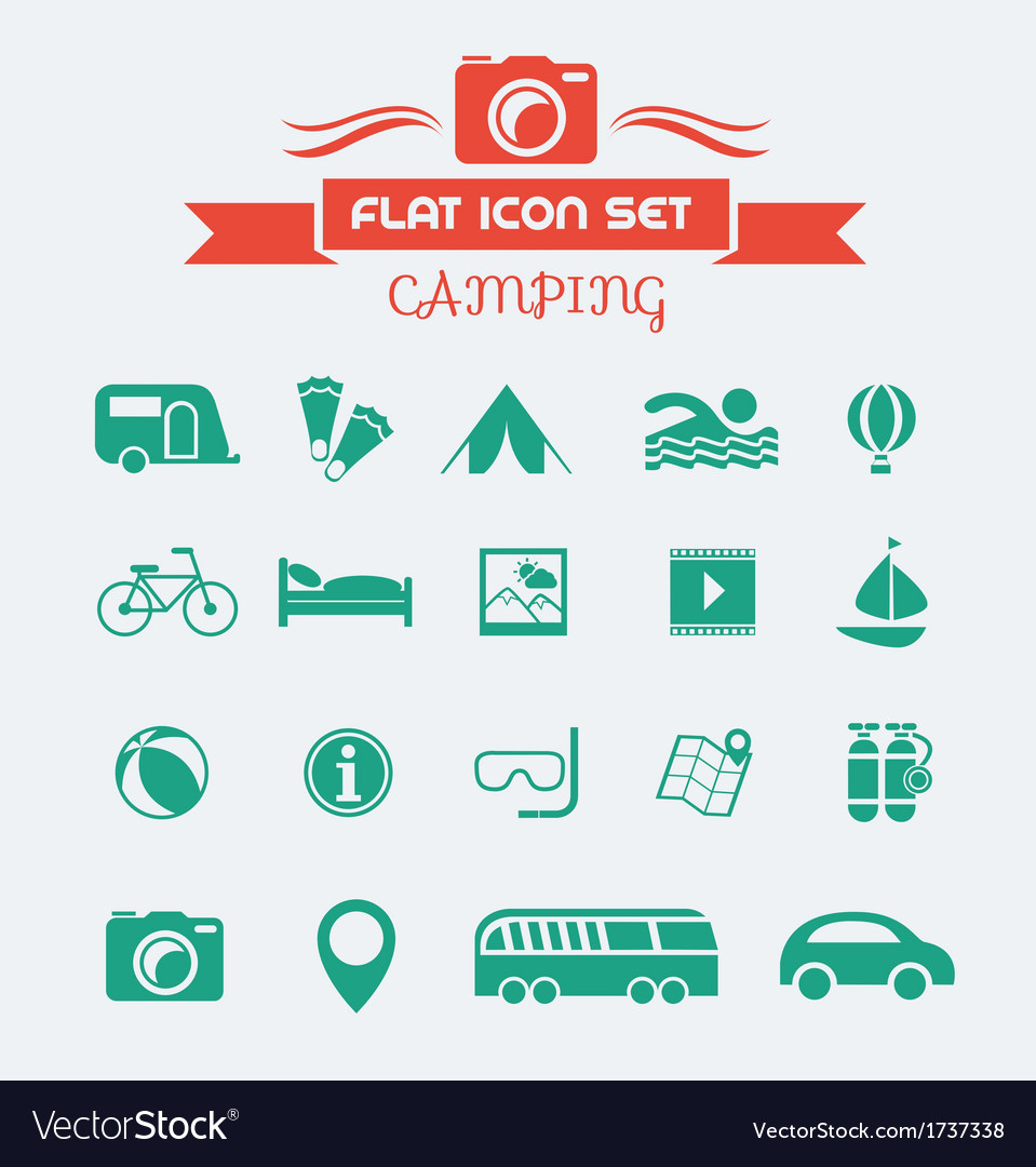 Camping flat icon set vector | Price: 1 Credit (USD $1)