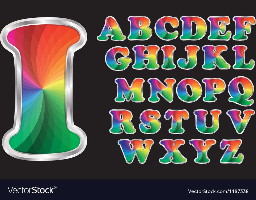 Colorful rainbow alphabet with silver frame vector   Price: 3 Credit (USD $3)