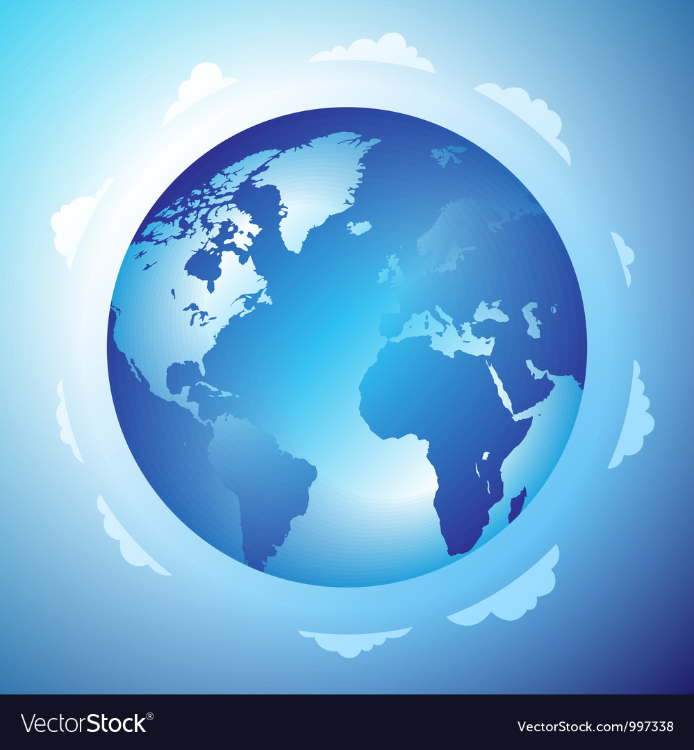 Globe and clouds vector | Price: 1 Credit (USD $1)